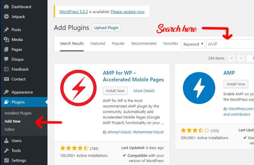 searching plugins to install in WordPress Dashboard