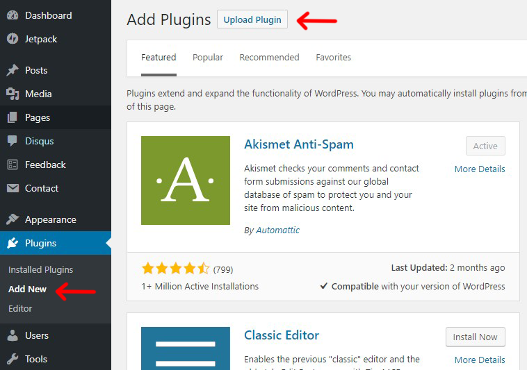 uploading plugin from WordPress Dashboard